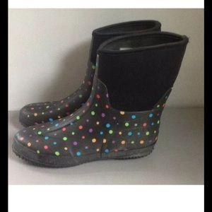 WESTERN CHEIF BLACK POLKA DOT RAIN BOOTS WOMANS 10